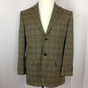 Nicole Miller Men's Blazer Dark Beige Plaid